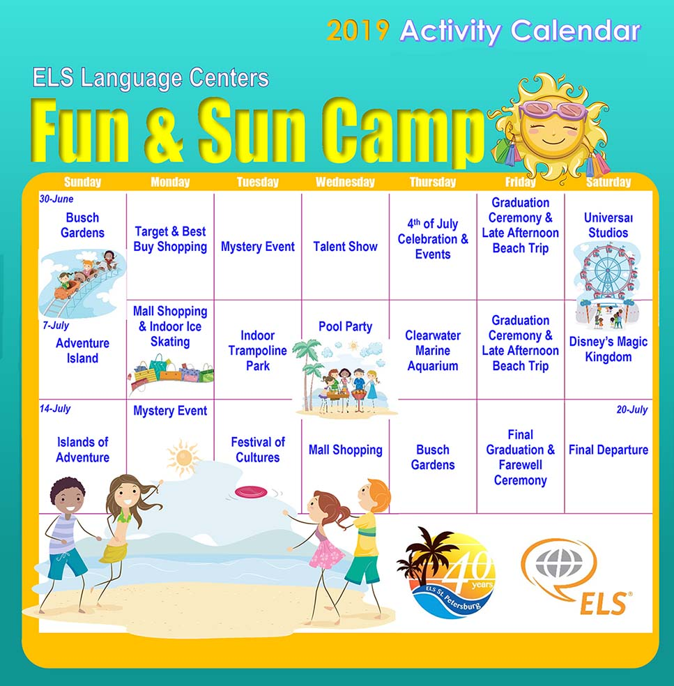 Microsoft Word - ELS Fun and Sun Camp Activity Calendar 2019
